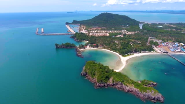 Beautiful Tropical Curved Beach with White Sand, Aerial view