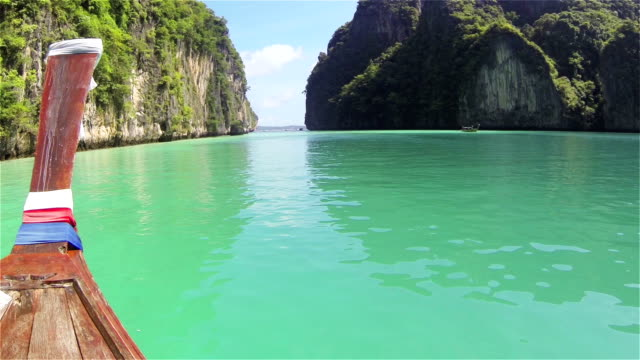 beautiful tropical island lagoon, thailand - phi phi le stock videos & royalty-free footage