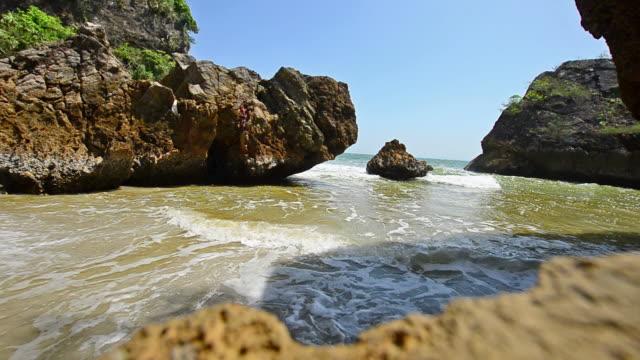 Beautiful tropical sand beach against the blue sky