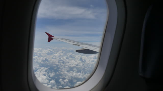 beautiful view from airplane window - aircraft wing stock videos & royalty-free footage