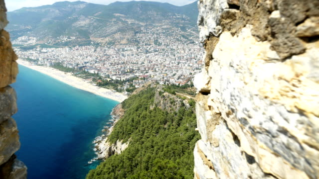 beautiful view from alanya castle with background of alanya city - anatolia stock videos and b-roll footage