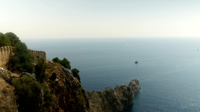 Beautiful view from Alanya Castle with background of Sightseeing Ship