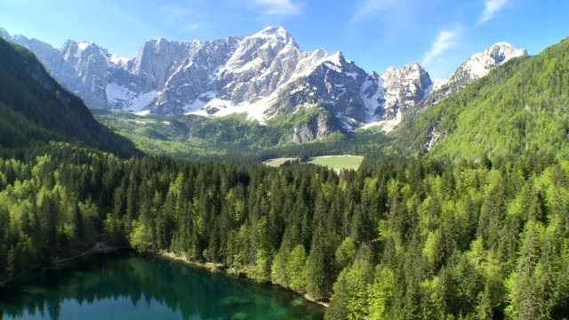 WS AERIAL Beautiful View Of A Mountain And Lake