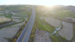 Beautiful view of organic fields, gardens, plant territory. Agriculture. Aerial