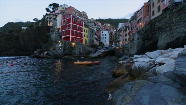 beautiful view of riomaggiore, cinque terre, italy - liguria stock videos & royalty-free footage