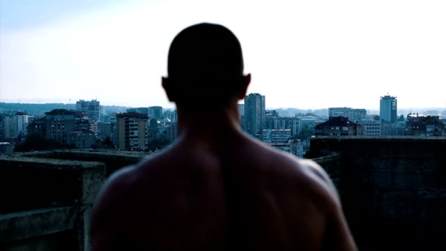 beautiful view of the city from the top of the building - tracksuit bottoms stock videos & royalty-free footage