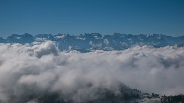 Beautiful view Over Mountain rigs switzerland  : 4K
