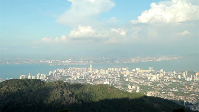 beautiful view point of penang city view from penang hill - penang stock videos and b-roll footage