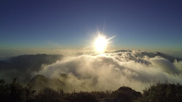 beautiful view sunrise from fansipan mountain - respect stock videos & royalty-free footage