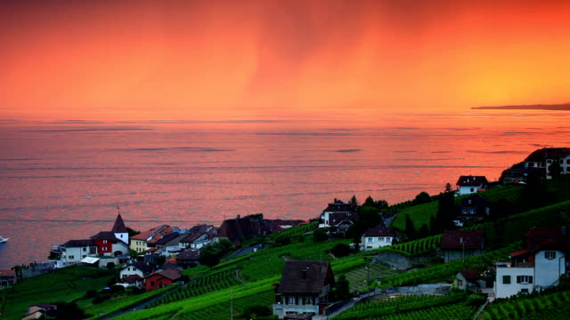 beautiful vineyard sunset near lac leman - montreux stock videos and b-roll footage