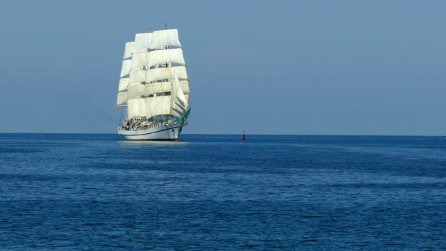 beautiful vintage sailboat in the sea - nave a vela video stock e b–roll