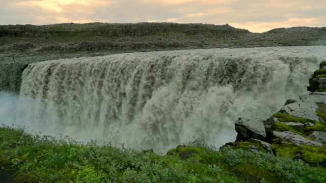 Beautiful waterfall Dettifoss ai summer in Iceland, Slow motion