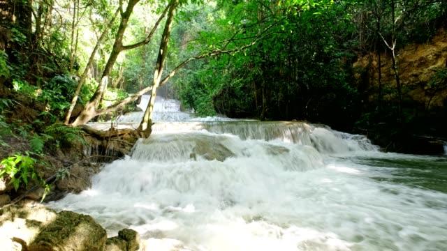 Beautiful waterfall flowing rapids in tropical rainforest