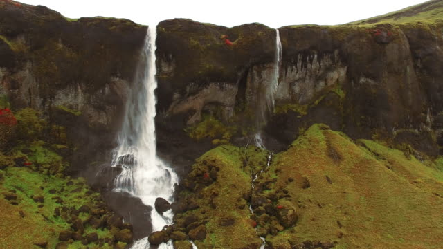 AERIAL Beautiful waterfall Foss a Sidu