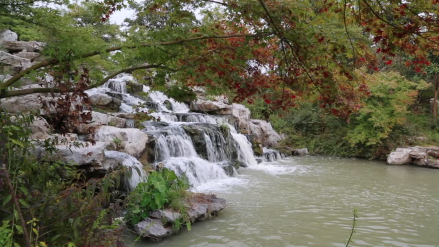 beautiful waterfall in chinese garden - classical chinese garden stock videos & royalty-free footage