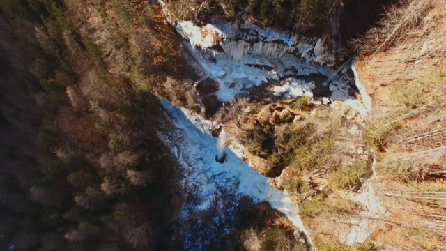 AERIAL Beautiful waterfall in Julian Alps