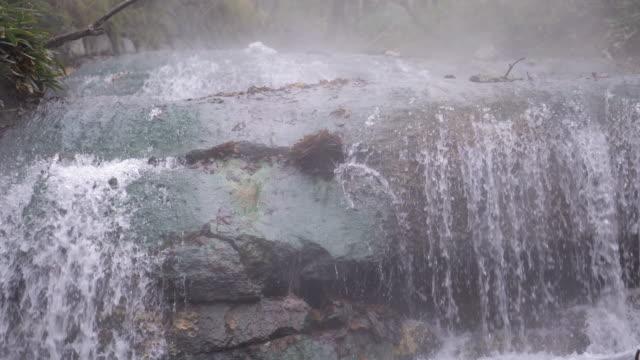 (4k resolution)beautiful waterfall jigokudani noboribetsu hot springs hokkaido - hot spring stock videos & royalty-free footage