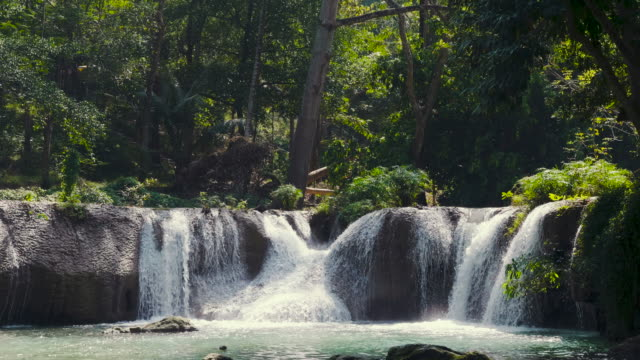 4k : beautiful waterfall of jed sao noi - spring flowing water stock videos and b-roll footage