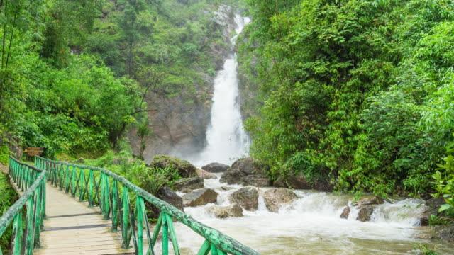 vídeos y material grabado en eventos de stock de hermosa cascada con puente peatonal y verde bosque, video lapso de tiempo - punto de referencia natural