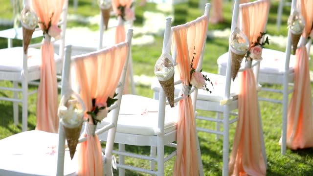 beautiful wedding ceremony set up. - wedding ceremony stock videos & royalty-free footage