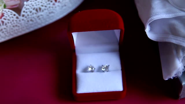 beautiful wedding jewel for bride - earring stock videos and b-roll footage