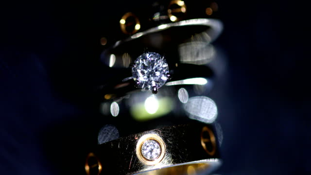 beautiful wedding ring and engagement ring, 4k. - stone object stock videos & royalty-free footage