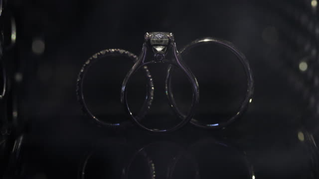 beautiful wedding ring and engagement ring, 4k. - precious gem stock videos & royalty-free footage