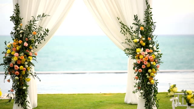 beautiful wedding set up over the sea. - bouquet stock videos & royalty-free footage