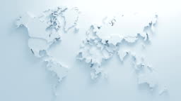 Beautiful White Global World Map of Surface Morphing in Seamless 3d Animation. Abstract Motion Design Background. Computer Generated Process. 4k UHD 3840x2160.