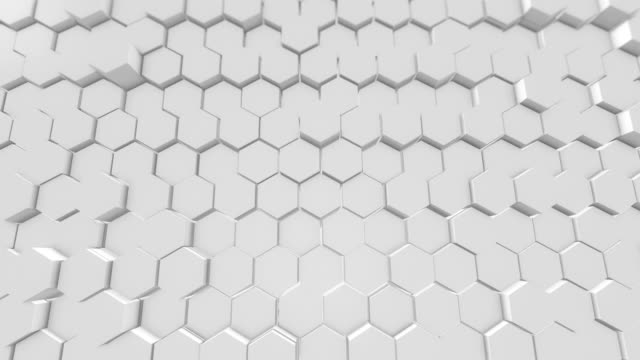 beautiful white hexagons on surface morphing in seamless 3d animation. abstract motion 4k  loopable - surface level stock videos & royalty-free footage