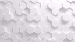 Beautiful White Hexagons on Surface Morphing in Seamless 3d Animation. Abstract Motion Design Background. Computer Generated Process. 4k UHD 3840x2160.