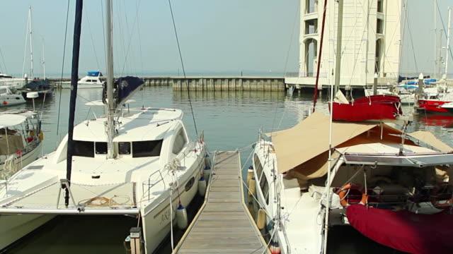 schöne weiße moderne yachten - segelsport stock-videos und b-roll-filmmaterial