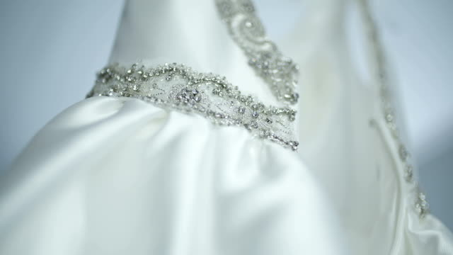 Mooie witte bruiloft jurk detail.