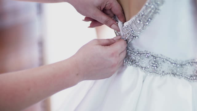 Beautiful white wedding dress detail.