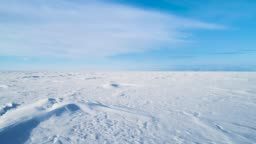 Beautiful winter landscape with snow covered lake Baikal surface