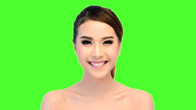 Beautiful woman closup on green-screen
