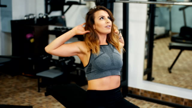 beautiful woman exercise - muscular contraction stock videos and b-roll footage