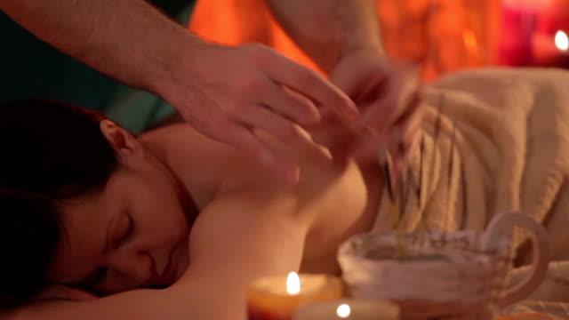 beautiful woman getting a massage treatment - acupuncture stock videos and b-roll footage