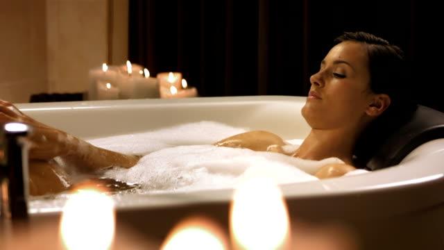 HD DOLLY: Beautiful Woman Having A Relaxing Bath