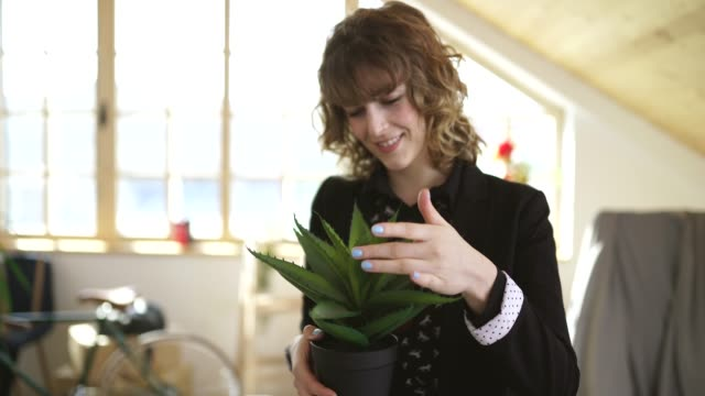 beautiful woman holding an aloe vera plant - succulent stock videos & royalty-free footage