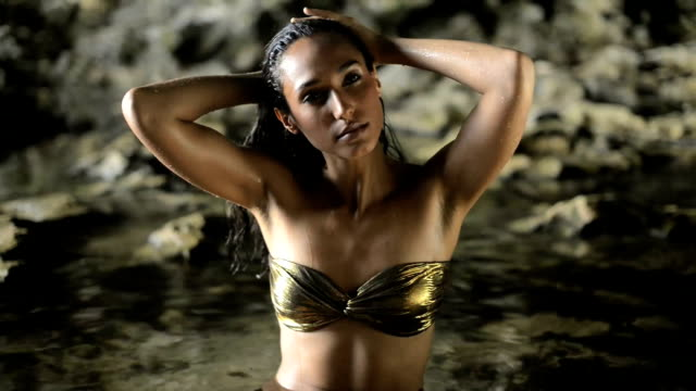 beautiful woman in a cave - wet hair stock videos and b-roll footage