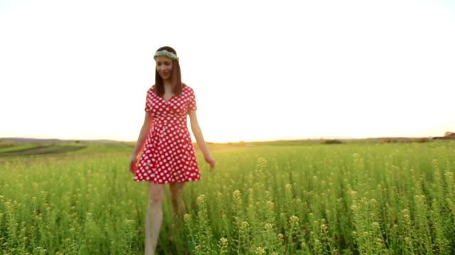 beautiful woman in polka dot dress - polka dot stock videos & royalty-free footage