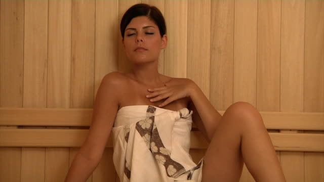 beautiful woman in sauna - sauna stock videos and b-roll footage