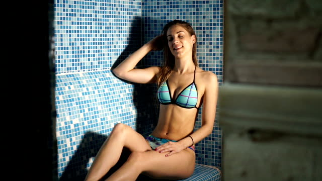 beautiful woman in steam bathroom - sauna stock videos and b-roll footage