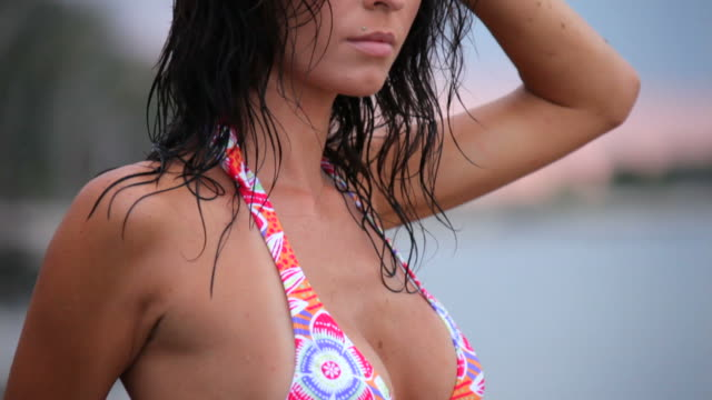 beautiful woman in swimsuit - photographing stock videos and b-roll footage