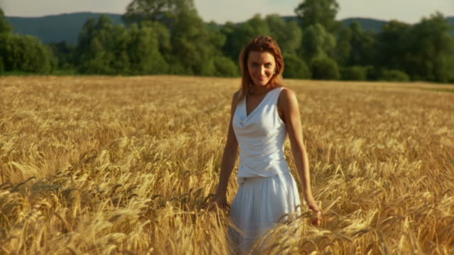 stockvideo's en b-roll-footage met hd slow-motion: beautiful woman in wheat - rijp voedselbereiding
