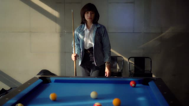 beautiful woman playing billiard - eight ball stock videos & royalty-free footage