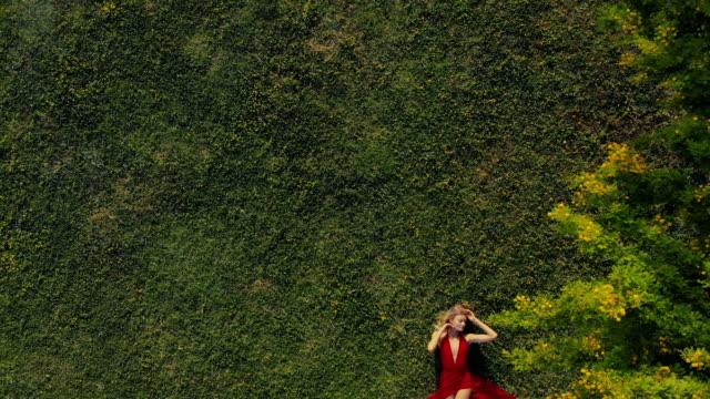 美しい女性フィールドでリラックス - 美容点の映像素材/bロール