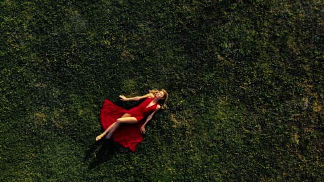 vidéos et rushes de belle femme reposante sur le champ - être étendu