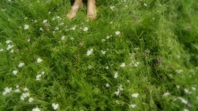 HD SLOW MOTION: Beautiful Woman Sleeping In Grass